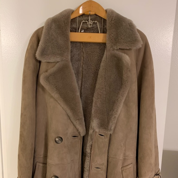 Vintage Burberry Suede Leather Fur Trench Coat